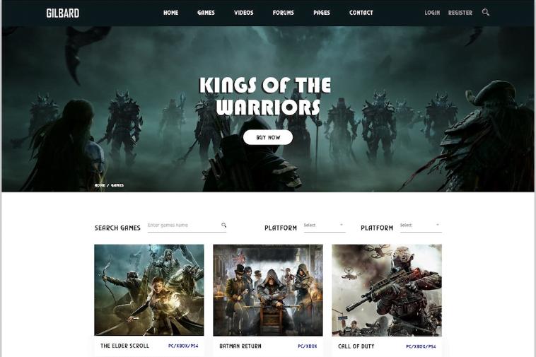 Gilbard - 50 Best Gaming HTML Website Templates 2019