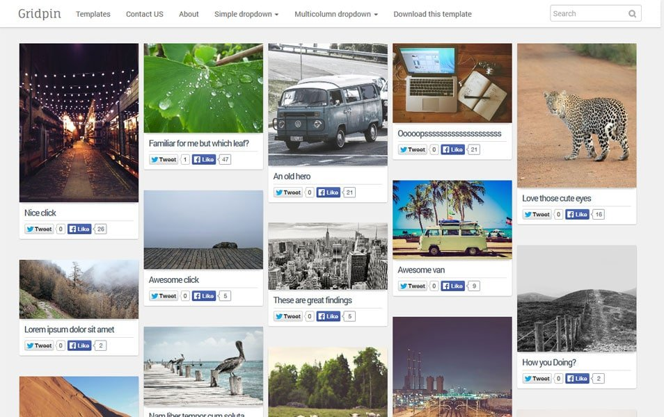 Grid-Pin-Responsive-Masonry-Photography-Blogger-Template - 50+ Top Free Grid Style Blogger Templates 2019