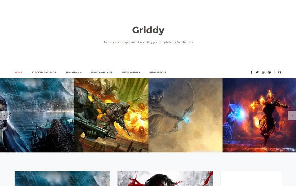 Griddy-Responsive-Blogger-Template - 50+ Top Free Grid Style Blogger Templates 2019