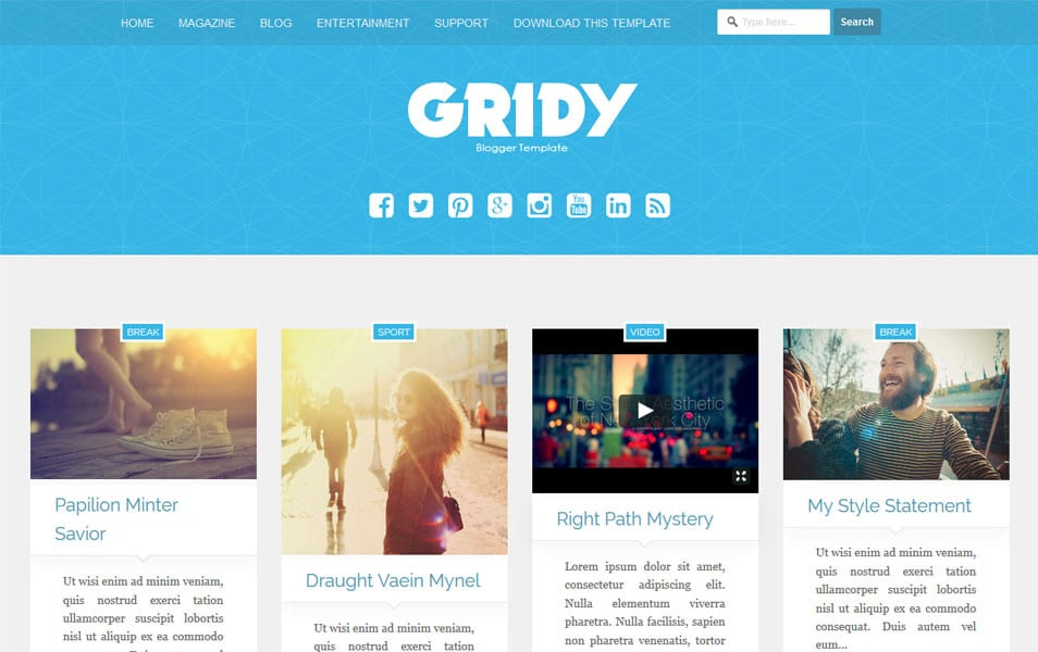Gridy-Responsive-Blogger-Template2 - 50+ Top Free Grid Style Blogger Templates 2019