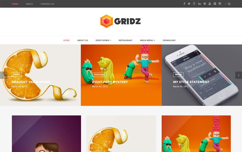 Gridz-Responsive-Blogger-Template - 50+ Top Free Grid Style Blogger Templates 2019