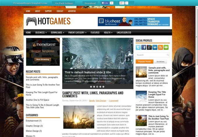 Hot-Games-Custom - 50+ Top Free Gaming Responsive Blogger Templates 2019