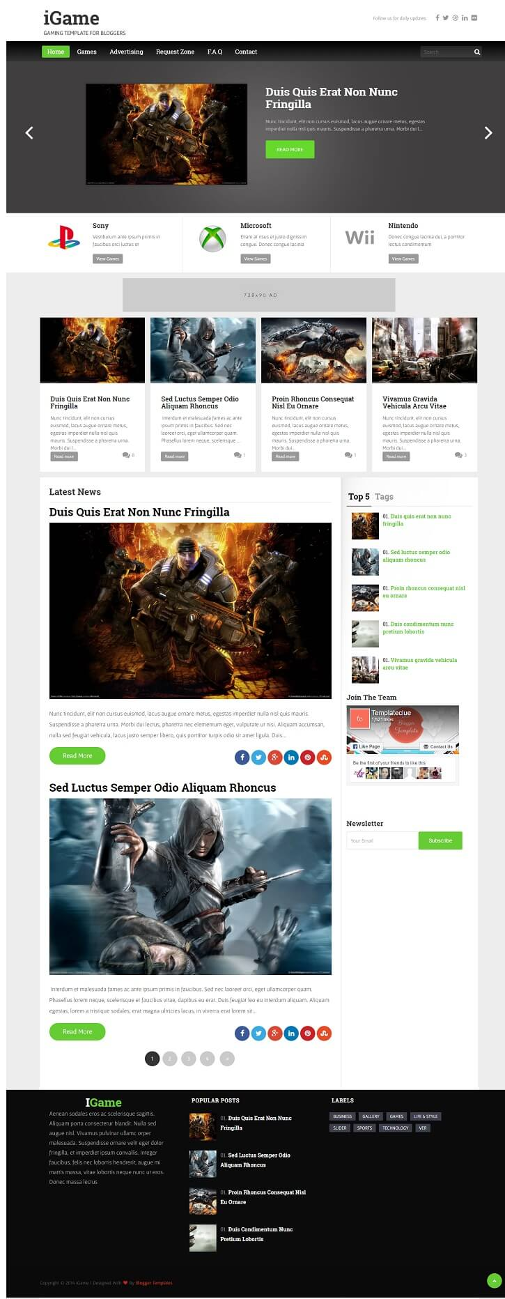 Igame-Responsive-Blogger-Template - 50+ Top Free Gaming Responsive Blogger Templates 2019