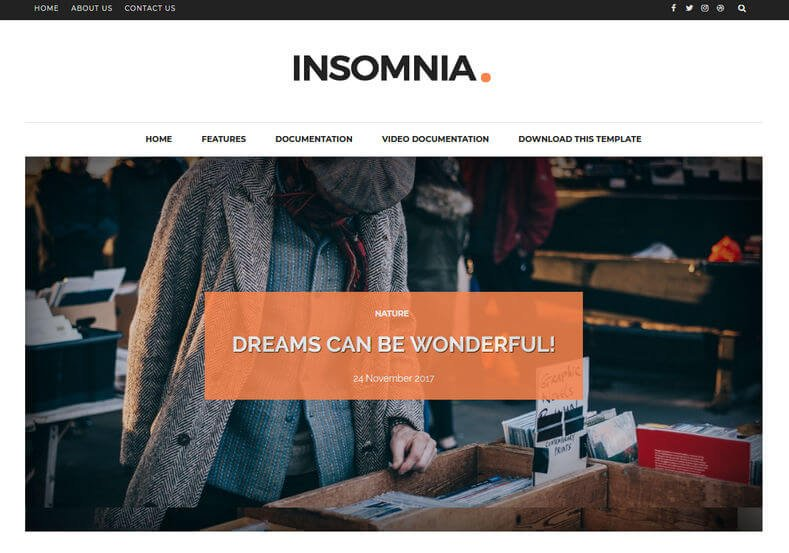 Insomnia - 53+ Top BEST Free Minimalist Blogger Templates [year]