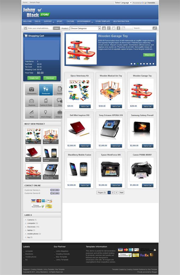 Johny-Black-Store-Free-Ecommerce-Blogger-Template-Custom - 60+ Top Free Ecommerce Blogger Templates [year]