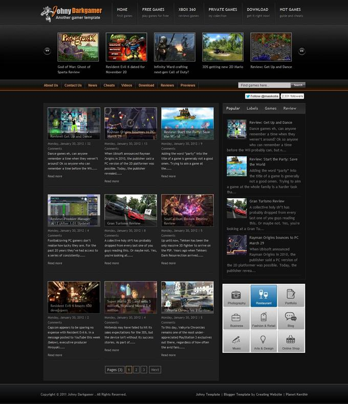 Johny-Darkgamer-Blogger-Template-Custom-1 - 50+ Top Free Gaming Responsive Blogger Templates 2019