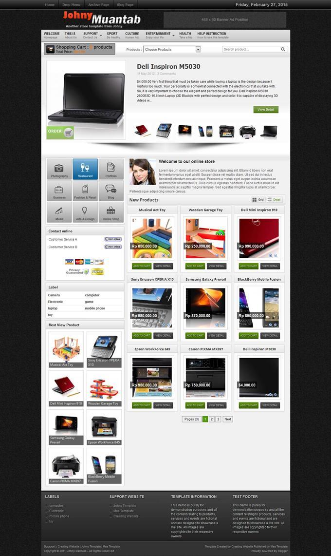 Johny-Muantab-Custom - 60+ Top Free Ecommerce Blogger Templates [year]