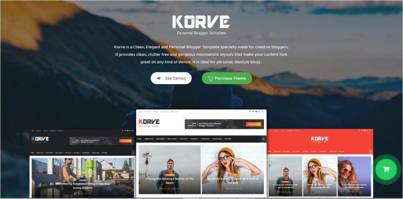 Korve-800x395 - 53+ Top BEST Free Minimalist Blogger Templates [year]