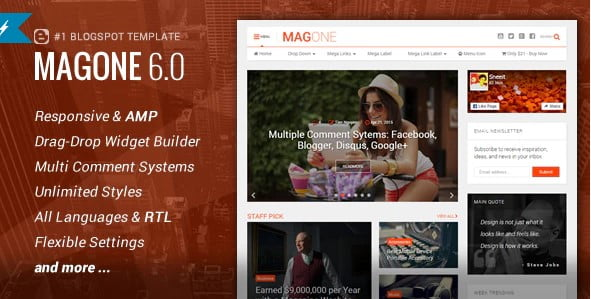 MagOne - 54+ Top BEST Free One Page Blogger Templates [year]