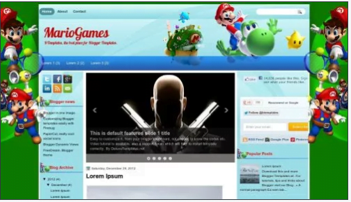 MarioGames - 50+ Top Free 3D Blogger Templates 2019