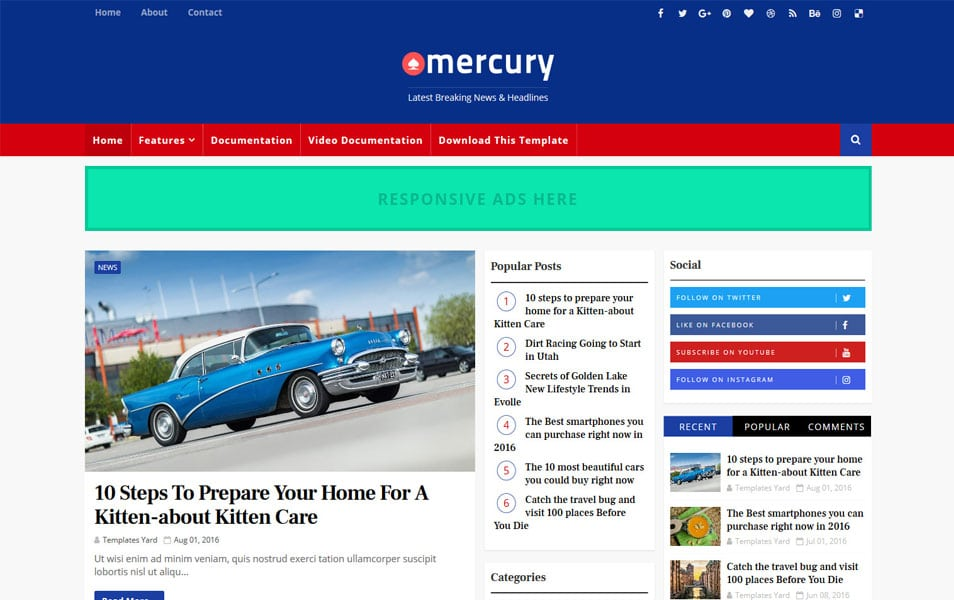Mercury-Responsive-Blogger-Template - 111+ Blogger Top Free Magazine Style Templates [year]
