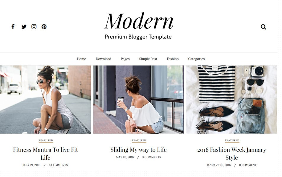 Modern-Grid-Responsive-Blogger-Template - 53+ Blogger Top Free Grid Style Templates [year]