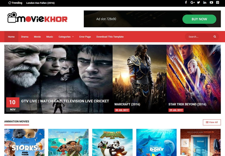 MovieKhor-Professional-Blogger-Template - 50+ Top Free 3D Blogger Templates 2019