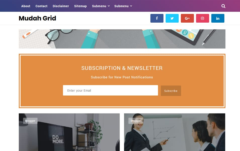 Mudah-Grid - 50+ Top Free Grid Style Blogger Templates 2019