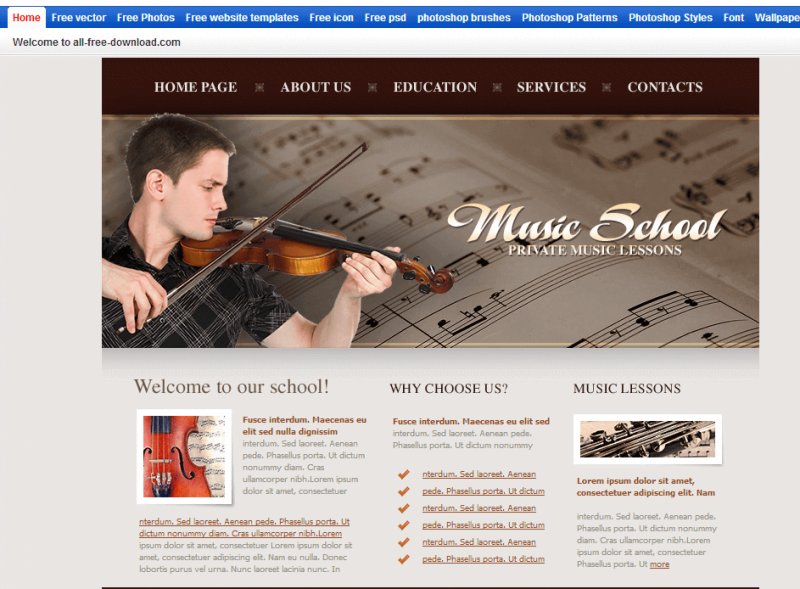 Music-School-Template-e1520694799652-800x589 - 50+ Top Free Education Blogger Templates 2019