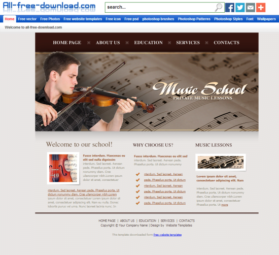 Music-School-Template - 50+ Top Free Education Blogger Templates 2019