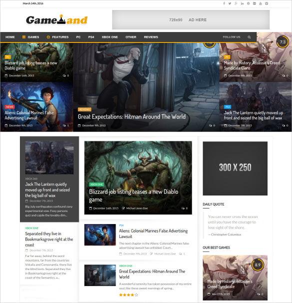 NewsGamer-WordPress-Game-magazine-Website-Template - 50 Best Gaming HTML Website Templates 2019