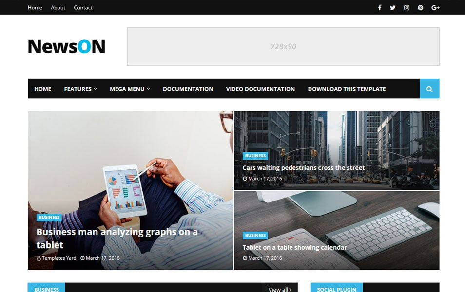 NewsOn-Responsive-Blogger-Template - 111+ Blogger Top Free Magazine Style Templates [year]