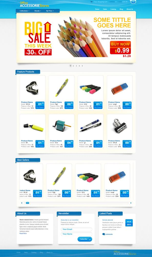 OFFICE-ACCESSORIE-TEMPLATE-Custom - 60+ Top Free Ecommerce Blogger Templates [year]