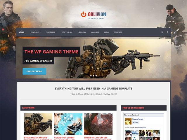 Oblivion-theme - 50+ Best Video Games WordPress Themes 2019