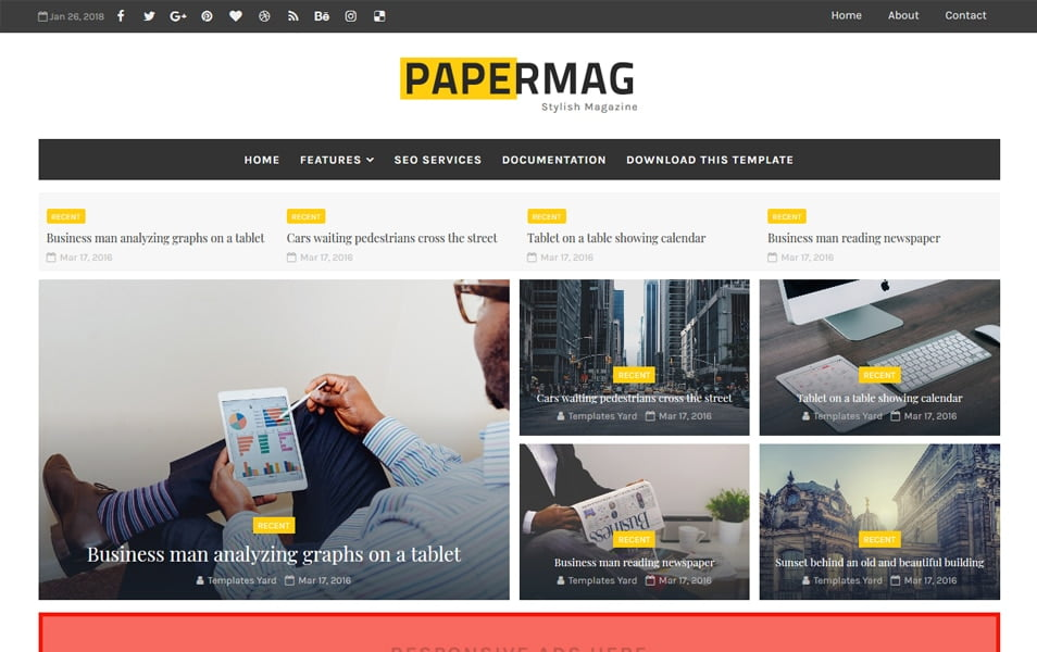 Papermag-Stylish-Magazine-Blogger-Template - 111+ Blogger Top Free Magazine Style Templates [year]