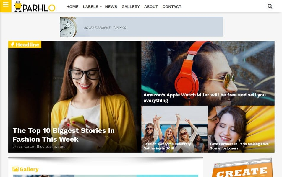Parhlo-Responsive-Blogger-Template - 111+ Blogger Top Free Magazine Style Templates [year]
