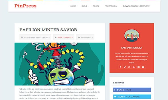 PinPress-Blogger-Template - 50+ Top Free Portfolio Blogger Templates 2019
