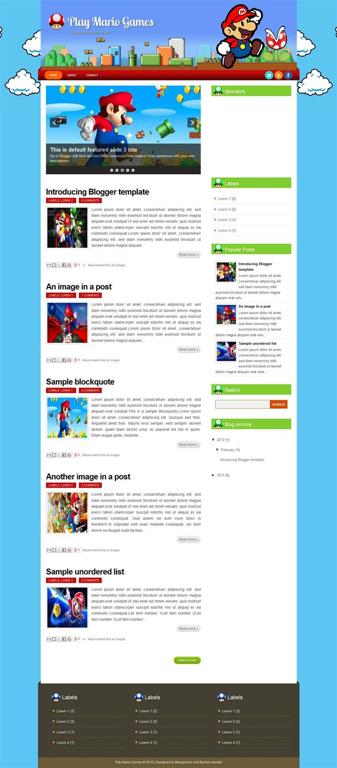 Play-Mario-Games-Custom - 50+ Top Free Gaming Responsive Blogger Templates 2019