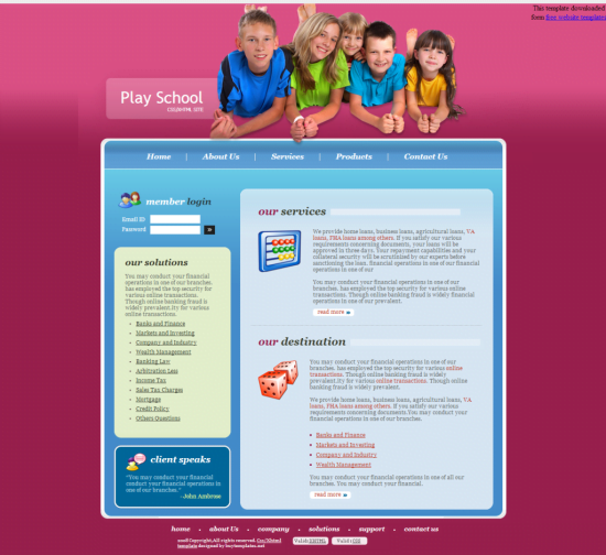 Play-School-Template-1024x939 - 50+ Top Free Education Blogger Templates 2019