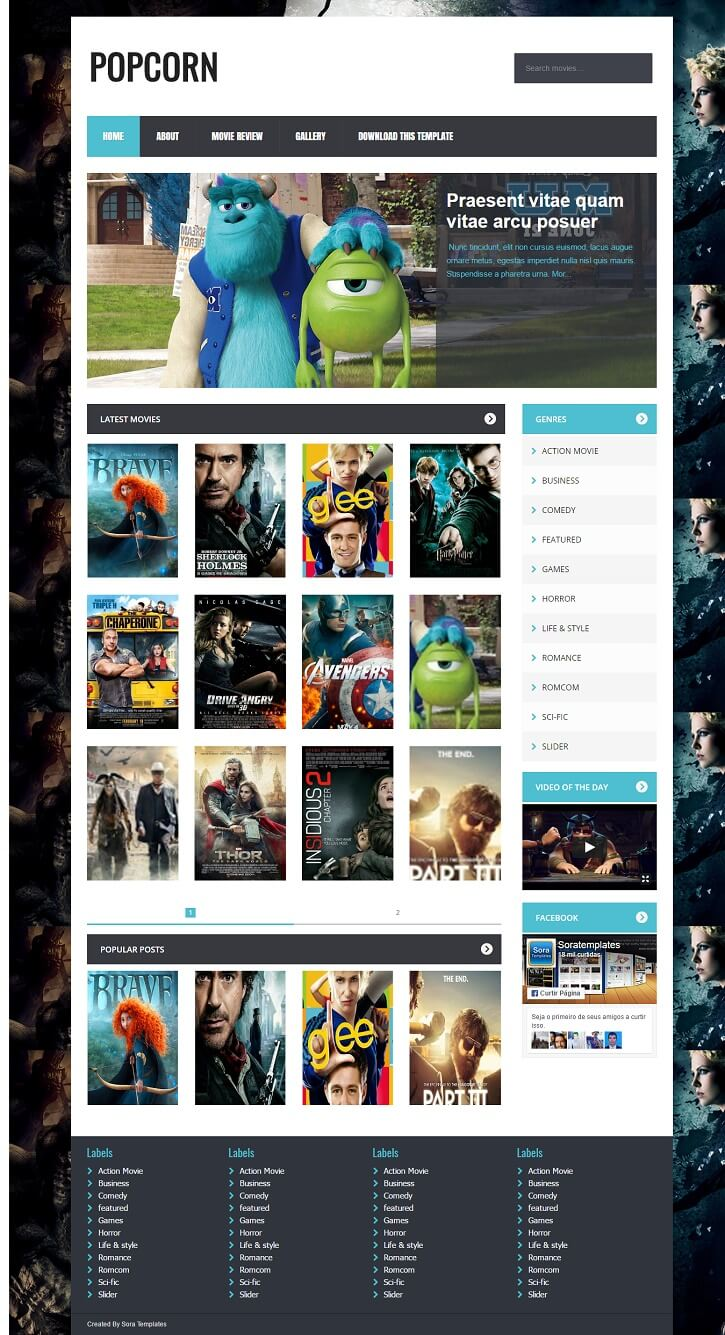 PopCorn-Gaming-Blogger-Template - 50+ Top Free Gaming Responsive Blogger Templates 2019