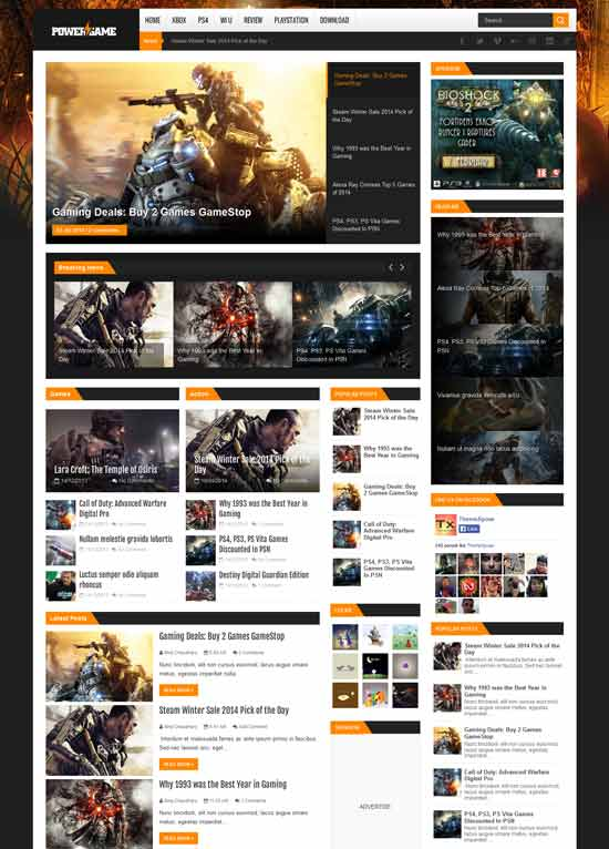 PowerGame-Responsive-Blogger-Template - 50+ Top Free Gaming Responsive Blogger Templates 2019
