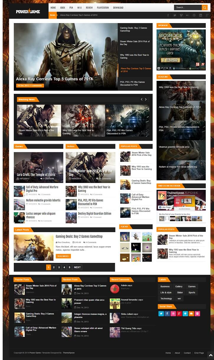 PowerGame-Responsive-Gaming-Template - 50+ Top Free Gaming Responsive Blogger Templates 2019