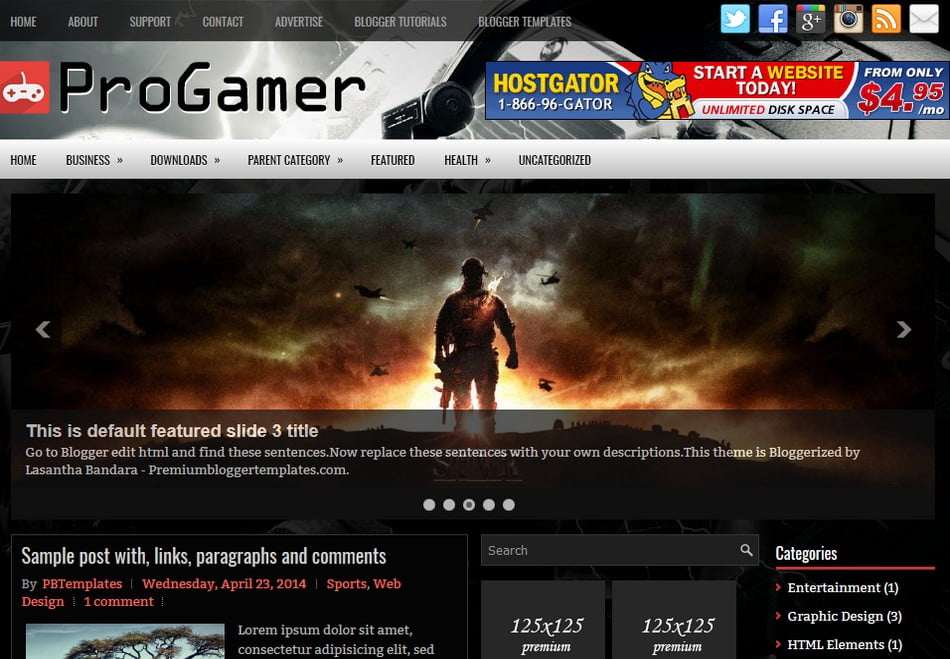 ProGamer-Blogger-Template - 50+ Top Free 3D Blogger Templates 2019