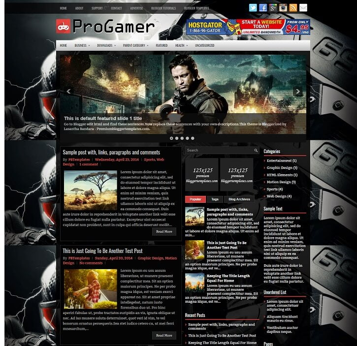 Progamer-Gaming-Template - 50+ Top Free Gaming Responsive Blogger Templates 2019
