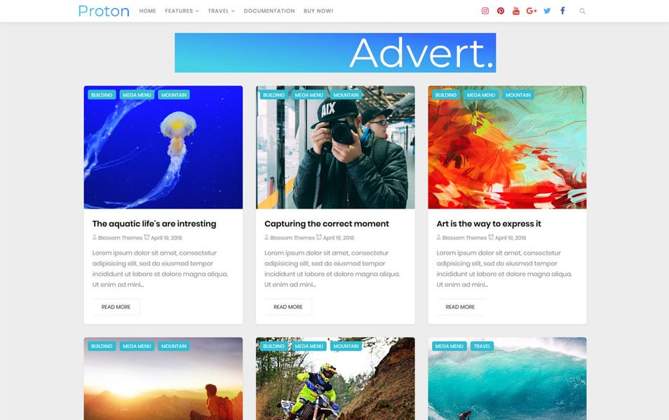Proton-Responsive-Blogger-Template - 50+ Top Free Grid Style Blogger Templates 2019
