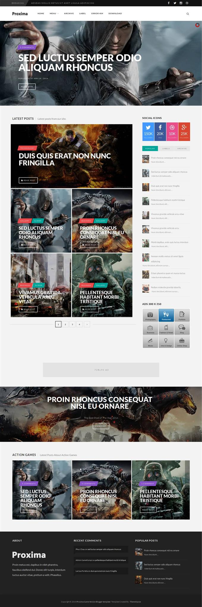 Proxima-Game-Responsive-Blogger-Template-Custom - 50+ Top Free Gaming Responsive Blogger Templates 2019