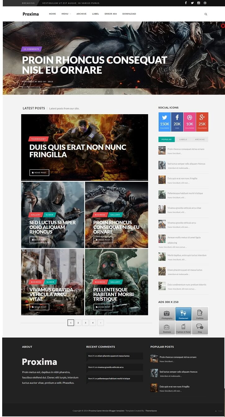 Proxima-Game-Responsive-Blogger-Template - 50+ Top Free Gaming Responsive Blogger Templates 2019