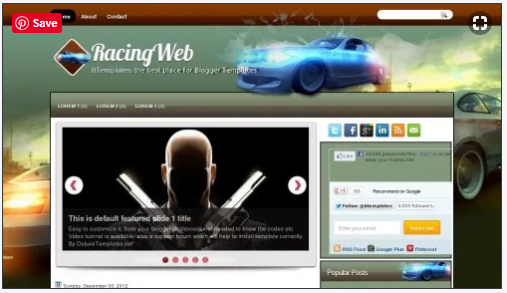 RacingWeb - 50+ Top Free 3D Blogger Templates 2019