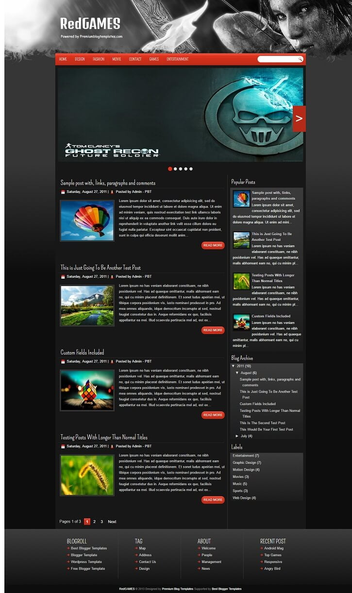 RedGames-Gaming-Blogger-Template - 50+ Top Free Gaming Responsive Blogger Templates 2019