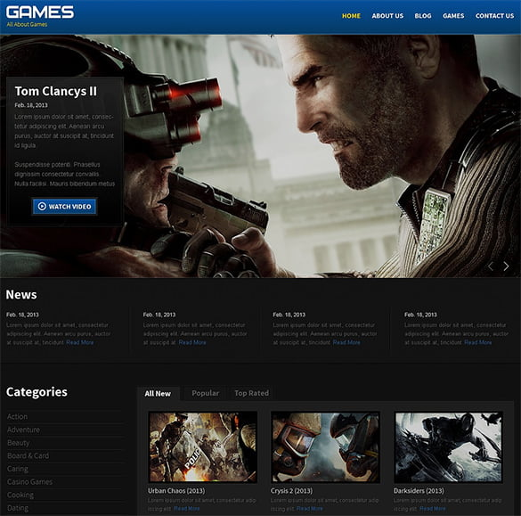 Responsive-Gaming-website-Theme - 50 Best Gaming HTML Website Templates 2019