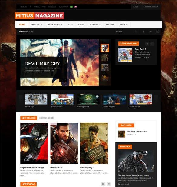 Responsive-Joomla-Gaming-Website-Template - 50 Best Gaming HTML Website Templates 2019