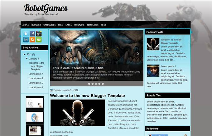 Robot-Games-Blogger-Template-Custom - 50+ Top Free Gaming Responsive Blogger Templates 2019
