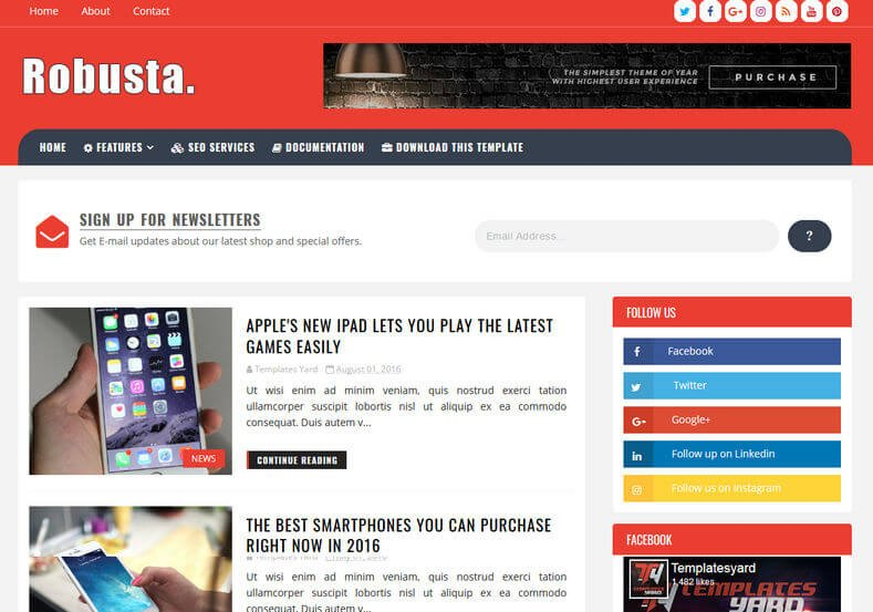 Robusta - 53+ Top BEST Free Minimalist Blogger Templates [year]