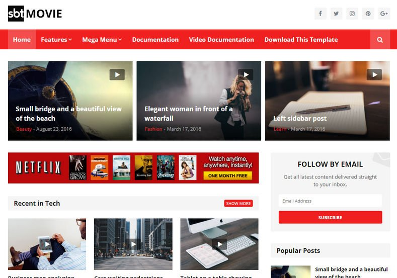 SBT-Movie-Blogger-Template - 53+ Top BEST Free Minimalist Blogger Templates [year]
