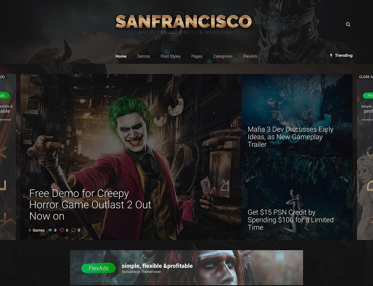 SanFrancisco-Gaming-WordPress-Theme - 50+ Best Video Games WordPress Themes 2019