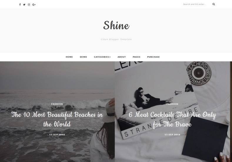 Shine-Blogger-Template - 54+ Top BEST Free One Page Blogger Templates [year]