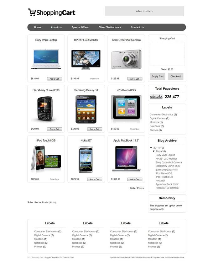 Shopping-Cart-Custom - 60+ Top Free Ecommerce Blogger Templates [year]