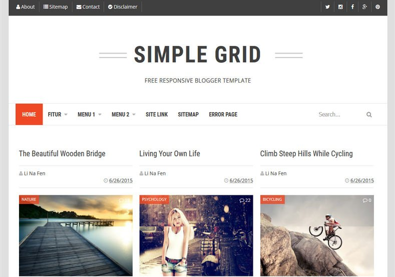 Simple-Grid-Blogger-Template-2 - 54+ Top BEST Free One Page Blogger Templates [year]