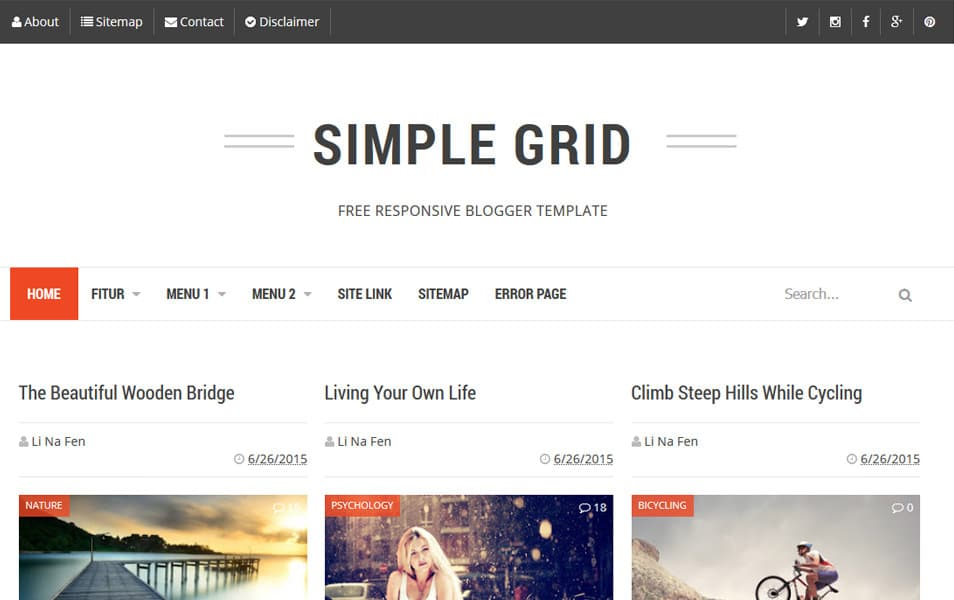 Simple-Grid-Responsive-Blogger-Template - 50+ Top Free Grid Style Blogger Templates 2019