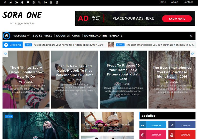 Sora-One-Blogger-Template - 53+ Top BEST Free Minimalist Blogger Templates [year]